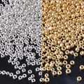 3mm 1000 Pcs  gold and silver Czech Glass Seed Spacer Beads For Jewelry Making BLUV02X