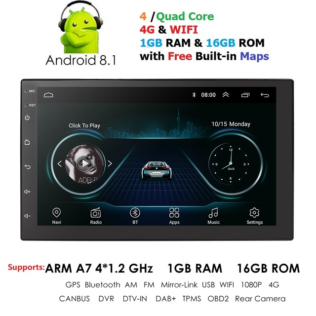 """Din tela de Toque 2 7 """"rádio Bluetooth GPS de Navegação Multimídia Carro Auto Universal TPMS MP3 MP5 Estéreo USB FM DVR OBD2"""