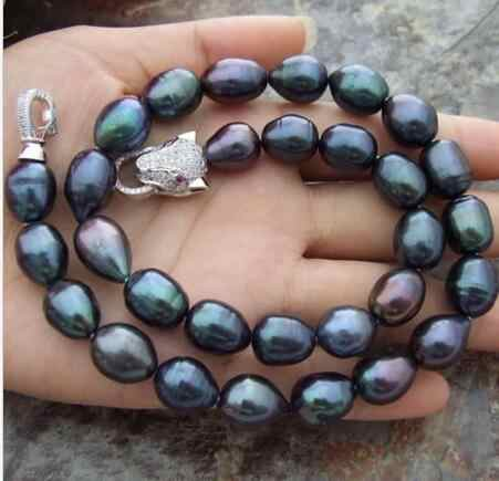 free shipping HUGE AAA+ 10-11MM South Sea Black Baroque Pearl Necklace 18 inch