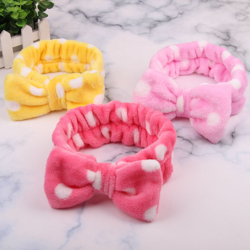 Big Rabbit Ear Coral Fleece Dot Soft Elastic Hair Ribbon SPA Bath Shower Make Up Wash Face Cosmetic Headband Hair Band   Headwear