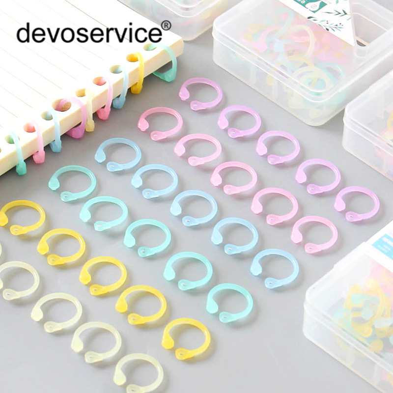 Colorful Transparent PE Material Loose Leaf Book Binder Hinged Rings Clip Keychain Album Scrapbook Craft For Scrapbooking Office