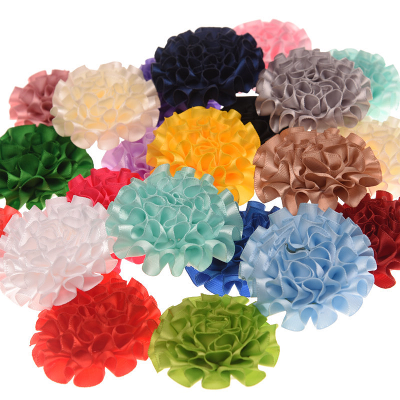 200ピース固体花ポリエステル毛花6センチヘアアクセサリーdiyアクセサリー花帽子20色u ピック  グループ上の ママ & キッズ からの ヘアアクセサリー の中 1