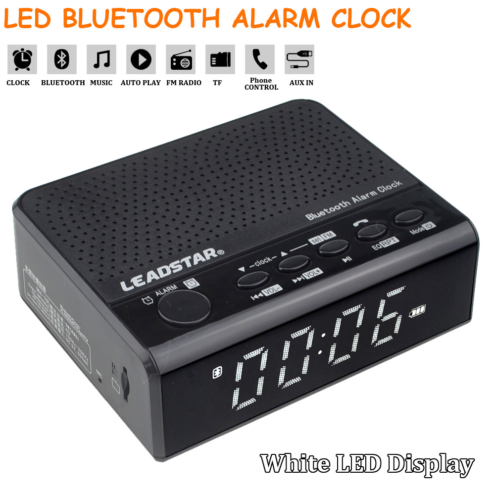 Multi-function Digital LED Wireless Bluetooth Alarm Clock Stereo Speaker Support TF with Hands-free Call Alarm Clocks With Mic bl 25 smart voice stereo bluetooth speaker with hands free call tf card function