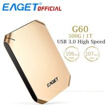 EAGET G60 500GB 1T HDD USB 3.0 Hard Disk High Speed Shcokproof Encryption Mobile External Hard Drives HDD Desktop Laptop Tablets