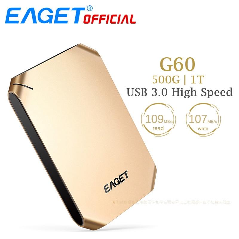 EAGET G60 500GB 1T HDD USB 3 0 Hard Disk High Speed Shockproof Encryption Mobile External