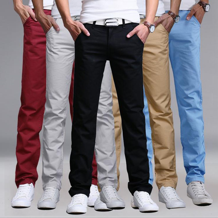 2017 New Fashion Mens Pants Straight Cargo Pants Chinos