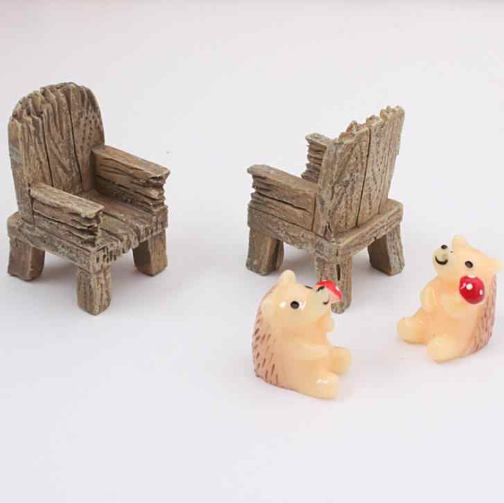 2 шт./компл. Ретро модулируемая мини деревянное украшение на стул из смолы космический микро-ландшафт Сказочный Сад, миниатюра для дома садовые украшения