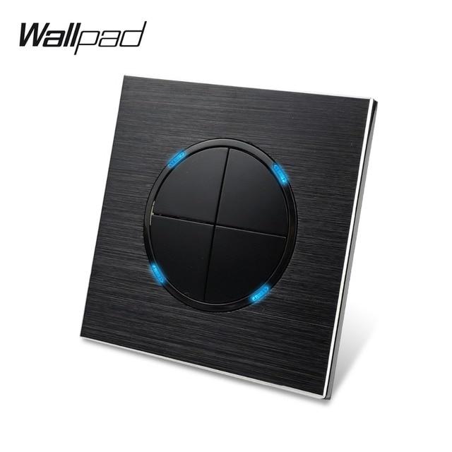 Wallpad Satin Black Aluminium 4 Gang 2 Way Klik Drukknop Muur Lichtschakelaar Metalen Paneel Blauwe Led Indicator