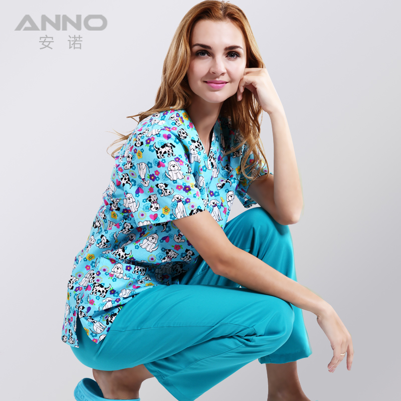 Fesyen! pakaian perubatan bercetak untuk kain anjing comel biru - Barang baru