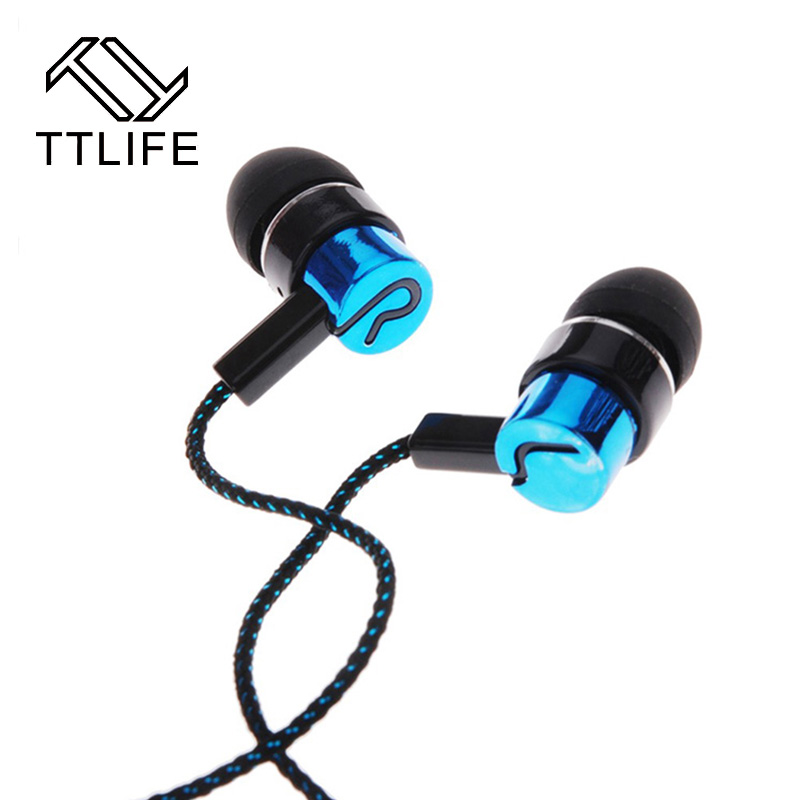 Original TTLIFE Brand Hot Wired Earpiece Super Bass Earphones Clear Voice Earphone Metal In-Ear Earbuds For Smartphones MP3