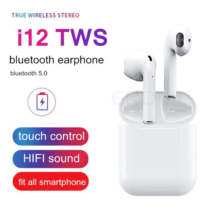 I12 TWS sans fil Bluetooth I12 TWS Touch écouteurs avec boîte de charge stéréo 3D pour Iphone XS XR dans l'oreille téléphone + étui