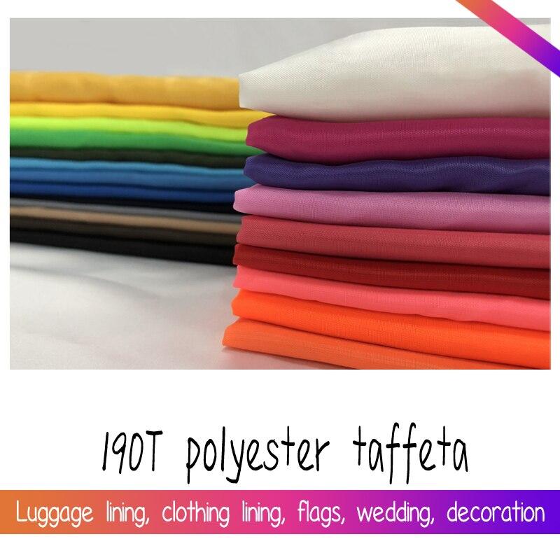 Размер 1*1,5 метра ширина, однотонная белая, черная, розовая, синяя дешевая 190T полиэстер, тафта, ткань для тонкой подкладки
