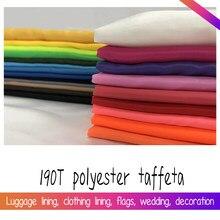 Tissu en Polyester 1.5 T, 1x190 mètre de largeur, couleur unie, blanc, noir, rose, bleu, bon marché, pour tissu à doublure fine