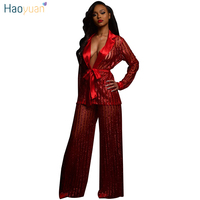 HAOYUAN Sheer Mesh See Through Sexy Two Piece Women Set Long Sleeve Tops And Wide Leg Pants Suit Club Wear Outfits Matching Sets