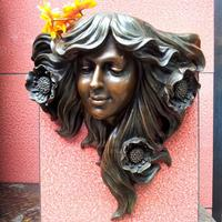 Sculpture young girl flowerbeds copper wall sculpture copper art crafts home accessories hangings