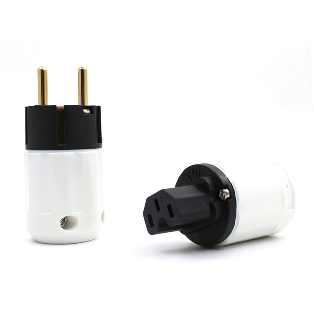 Preffair HI End 24K Gold Plated Schuko Power Plug European Plug Adapter Schuko Type for Germany, France, Europe, Russia