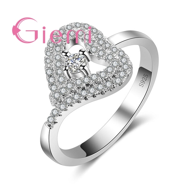 011be581e3c2 GIEMI Sterling 925 Silver and CZ Party Shopping Matching Clothes  Accessories for Women's Love Shape Crystal Stone Ring