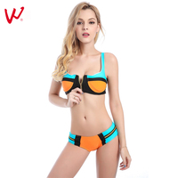 2017 New Zipper Type Bikini Model Push Up Female Cool Warrior Swimwear Gather Chest Sexy Swimsuit