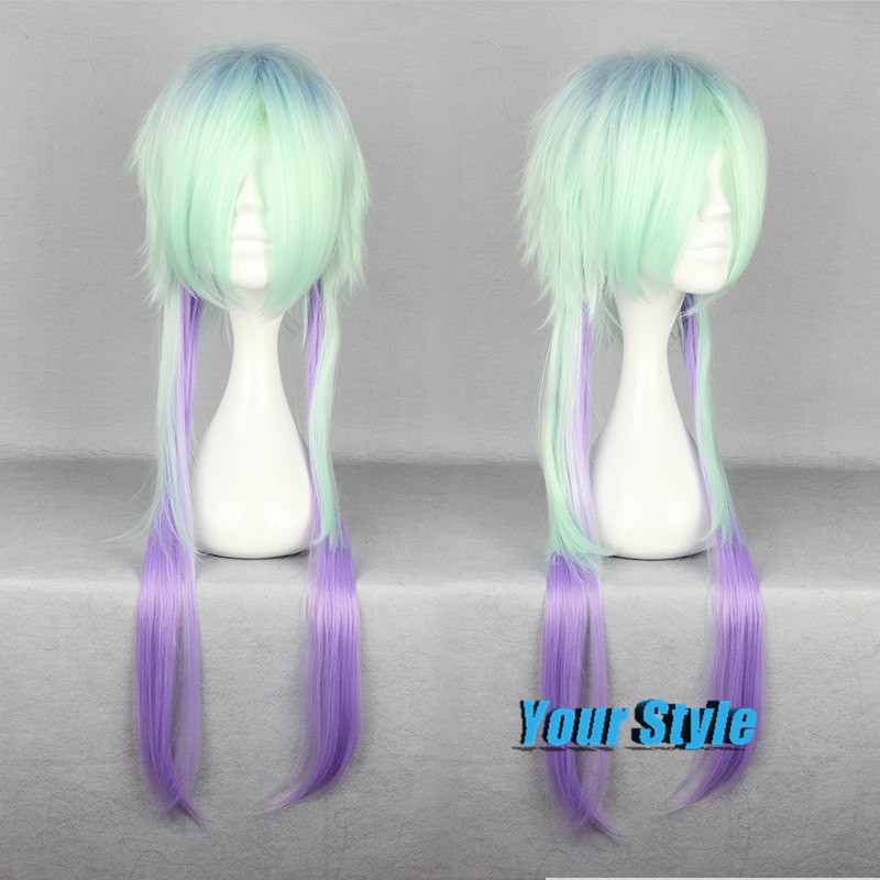 78cm Long Green And Purple Ombre Color Cosplay Hair Wigs