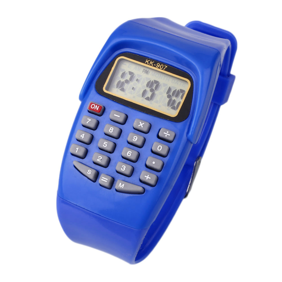 Blue/Yellow/Pink Children Electronic Watch Sports Silicone Multifunction Electronic Calculator Watch