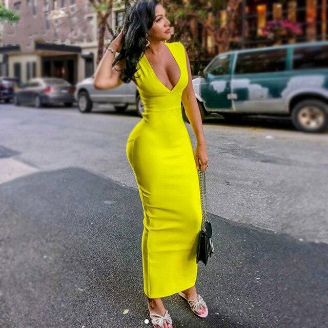 b892f709e71 Seamyla Spring New Fashion Bandage Long Dress Sleeveless Yellow Bodycon  Maxi Dress Sexy V Neck Celebrity Party Dresses 2019