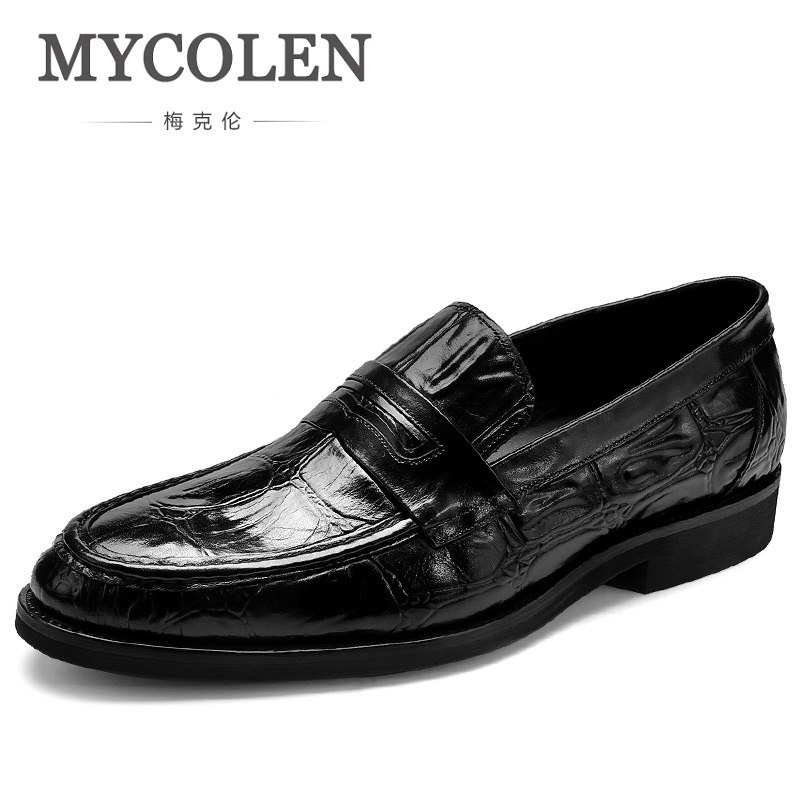 MYCOLEN Big Code Shoes Men Formal Leather Luxury Brand Slip-On Mens Dress Shoes Elegant Crocodile Skin Shoes Chaussure Mariage branded men s penny loafes casual men s full grain leather emboss crocodile boat shoes slip on breathable moccasin driving shoes