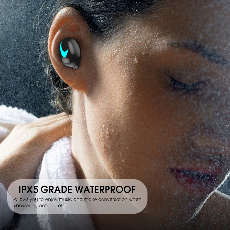 m&j tws 5.0 bluetooth earphone with 3d stereo ipx5 waterproof and power bank