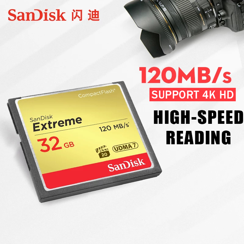 Sandisk Extreme Compact 32 GB Flash Camera Memory Card 64 GB 128 GB Up to 120 MB / s Read Speed for 4 K and Full HD Video