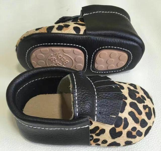 2017 Hot sale genuine leather baby shoes hard sole prewalker leopard baby moccasins kid fringe toddler bowknot first walkers