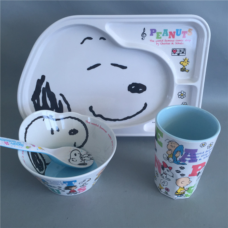 Cartoon Melamine children tableware 4pcs / set baby dishes Plate bowl cup Spoon Dinnerware feeding Set food container & Fibra Natural de bambú cuencos lindo bebé de dibujos animados platos ...