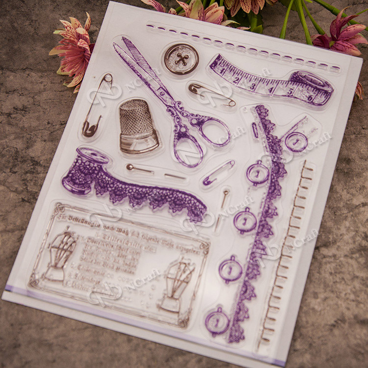 Collection of sewing tools Scrapbook DIY photo cards account rubber stamp clear stamp transparent stamp school Kid gift scrapbook diy photo cards account rubber stamp clear stamp finished transparent chapter wall decoration 15 18