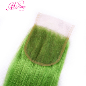Image 5 - MS 愛事前色緑ストレートヘアの束で 100% レミーブラジル人間の髪のバンドル閉鎖 4*4 毛織り
