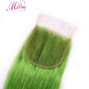 Image 5 - MS Liefde Pre Gekleurde Groene Steil Haar Bundels Met Sluiting 100% Remy Braziliaanse Menselijk Haar Bundels Met Sluiting 4*4 haar Weave