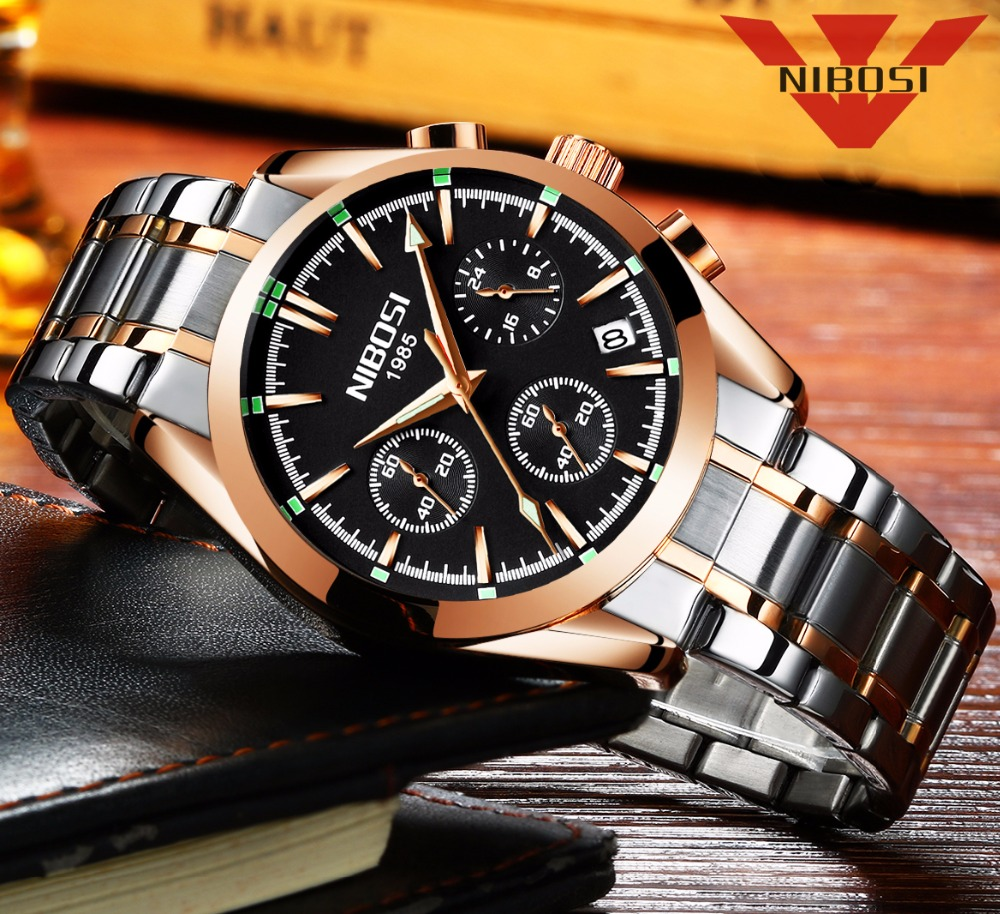 relogio masculino NIBOSI Men Watches Top Brand Luxury Business Quartz Watch Men Sports Waterproof Wristwatches Saat reloj hombre
