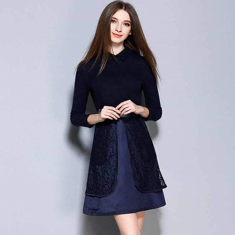 2016 Autumn New European and American Women's Lace Turn Down Collar Fake 2 piece Waist <font><b>Dress</b></font> With a Belt <font><b>1596</b></font>