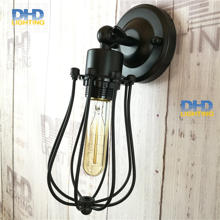 ФОТО Free ship 2pcs/pack American style bedside antique iron cage wall lamp single-head living room lights vintage fashion bar lamps