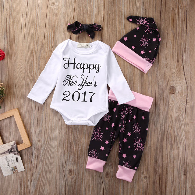 45ad84a68 4pcs set Newborn Baby clothing sets Happy new year 2017 baby Romper ...