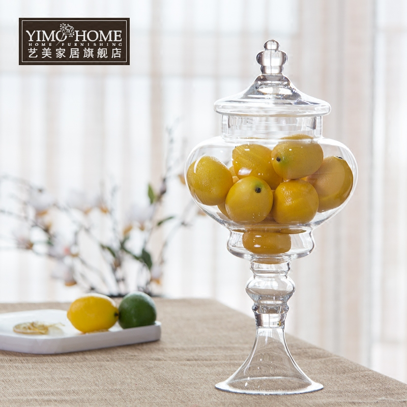Large tall glass bottle candy jar with lid storage tank food container glass jars for candy wed