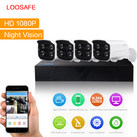 LOOSAFE 4CH CCTV Security Camera System 1080P HDMI AHD CCTV DVR 4PCS 2 0 MP IR