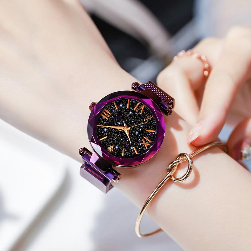 Hot Sale Fashion Magnet Mesh Band Watch Women'S Luxury Quartz Wristwatch Ladies Elegant Purple Watches Starry Sky Clock