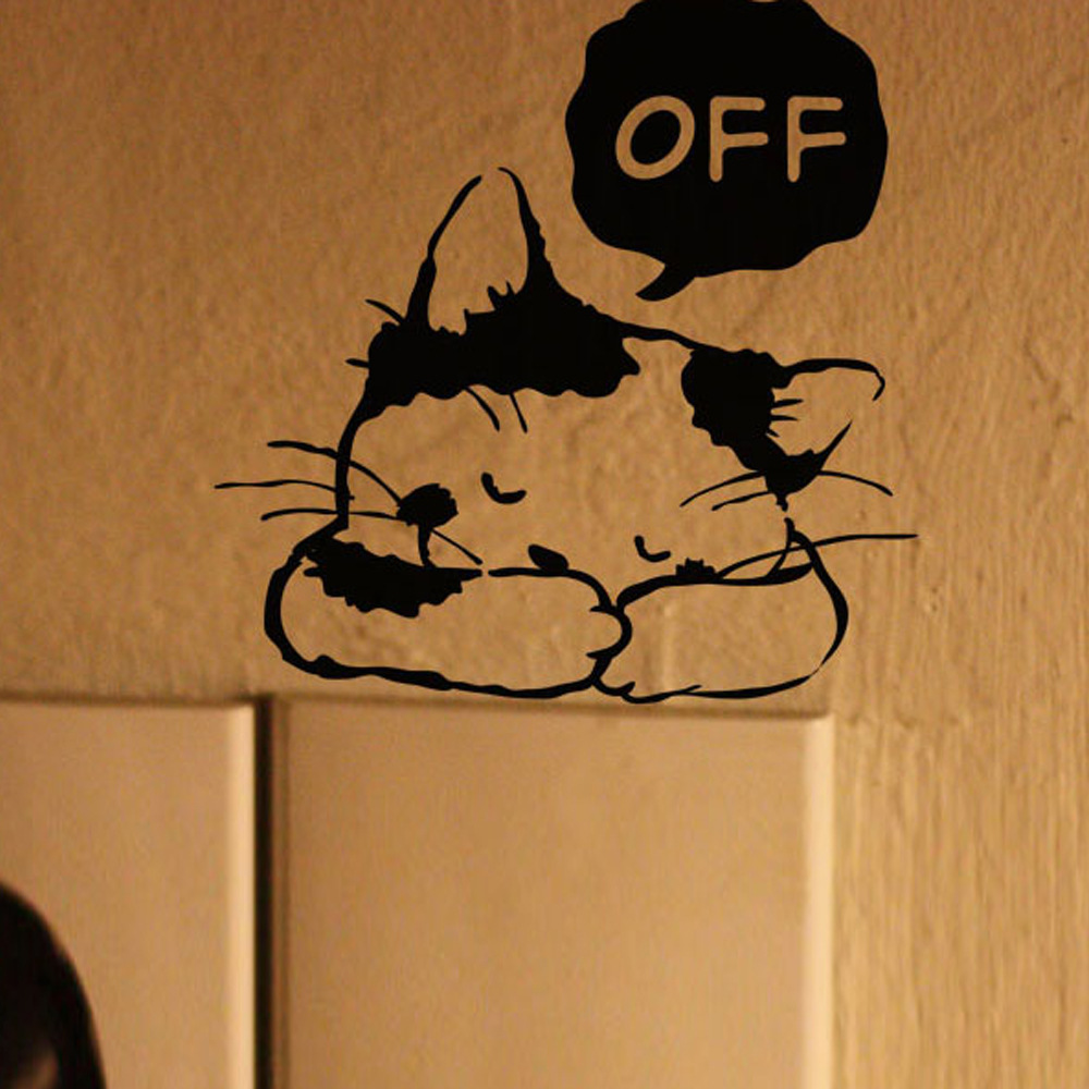 Lovely cat pattern room window wall decorating switch for Vinyl window designs ltd complaints