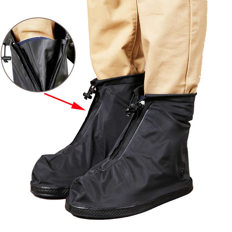 للجنسين 25.5-32 سنتيمتر الأسود و شفافة قابلة لإعادة الاستخدام أغطية لحذاء المطر الجرموق للماء غطاء بلاستيكي للأحذية مكافحة الانزلاق في الهواء الطلق