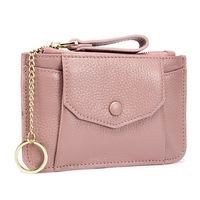 PACGOTH Solid Color Mini Zipper Cow Leather Coin Purse 2018 New Korean Style Soft Ladies Hand