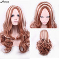 Hot Sale Brown Light Gold Ombre Wig Cheap Wigs for Women Long Wavy Curly Wig Cosplay Synthetic Wig Pelucas Sinteticas Peruca