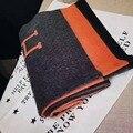 O novo modo de laine femmes Cashmere ponchos e capas H o lenço do inverno do lenço h cachecol echarpe hiver femme marca de luxo quente