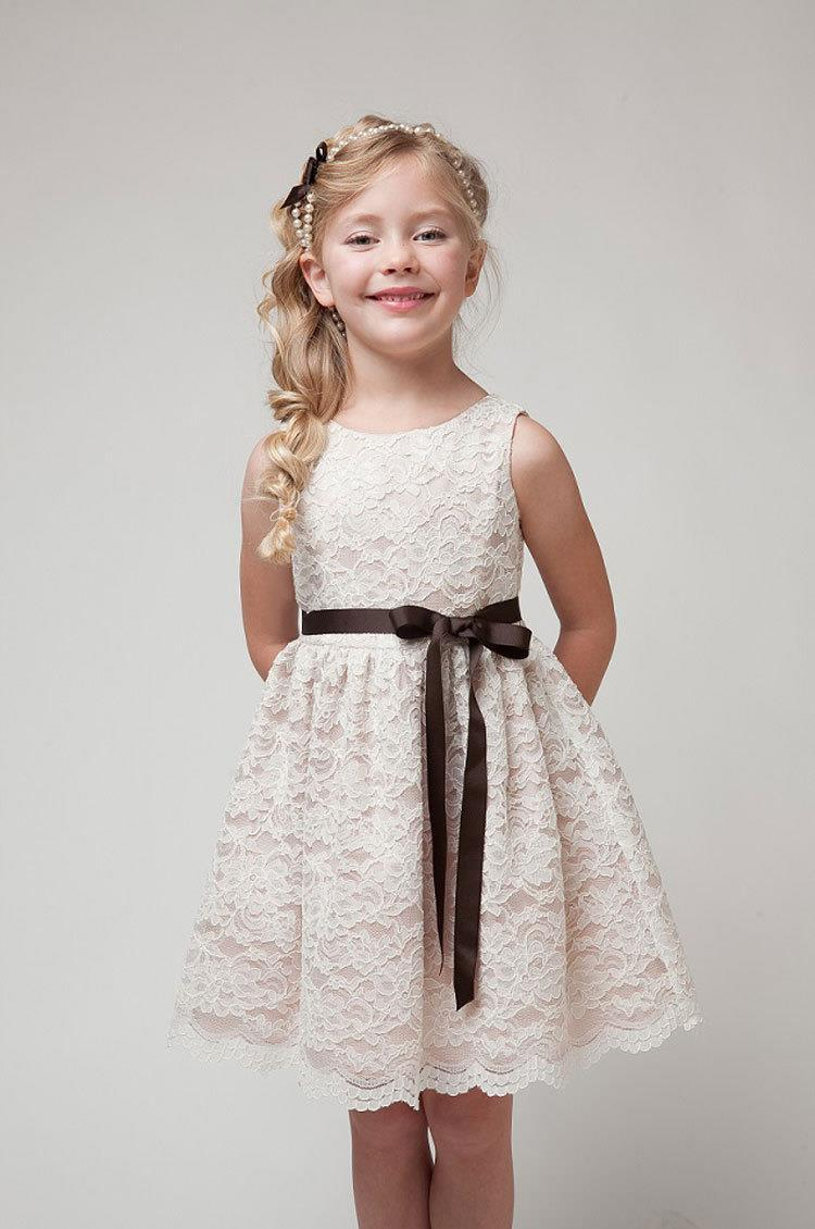 Princess Korean Girls Lace Dress With Belt Black Beige and