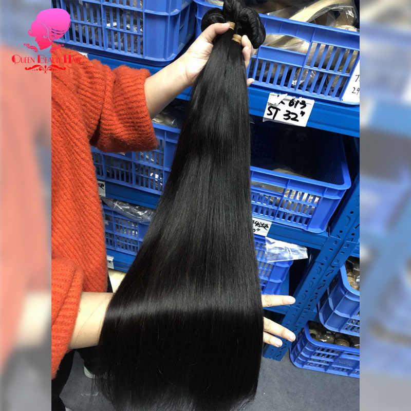 Koningin Schoonheid 1 3 4 Stuks Veel Remy Brazilian Steil Haar Bundels Lange Menselijk Haar Weave 26 28 30 32 34 36 38 40 Inch Gratis Verzending