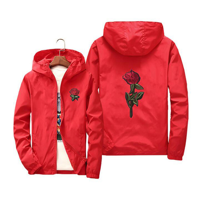 9d414a7642 veste femme jacket windbreaker men women rose college jackets 2018 Spring  Autumn Embroidery Jacket Men's Hooded