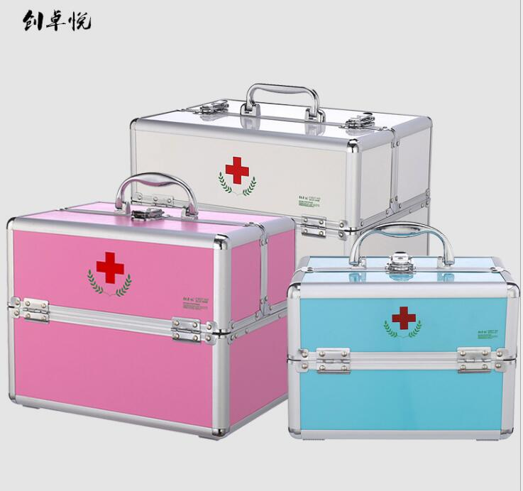 BBL170---Aluminium alloy double open medicine box, household lock medical box, multi tier first-aid box, cosmetic container.