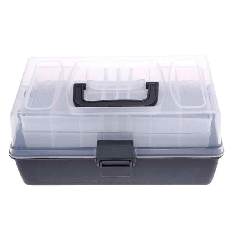 30.5*19*14cm Plastic Fishing Box Portable Kit Transparent Cover Black Storage Case Clear Fishing Tackle Boxes Large 3 Layer